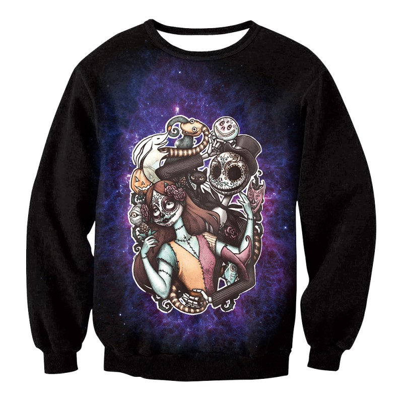5ef5928cccef1 The Nightmare Before Christmas Jack   Sally Sugar Skull Sweatshirt