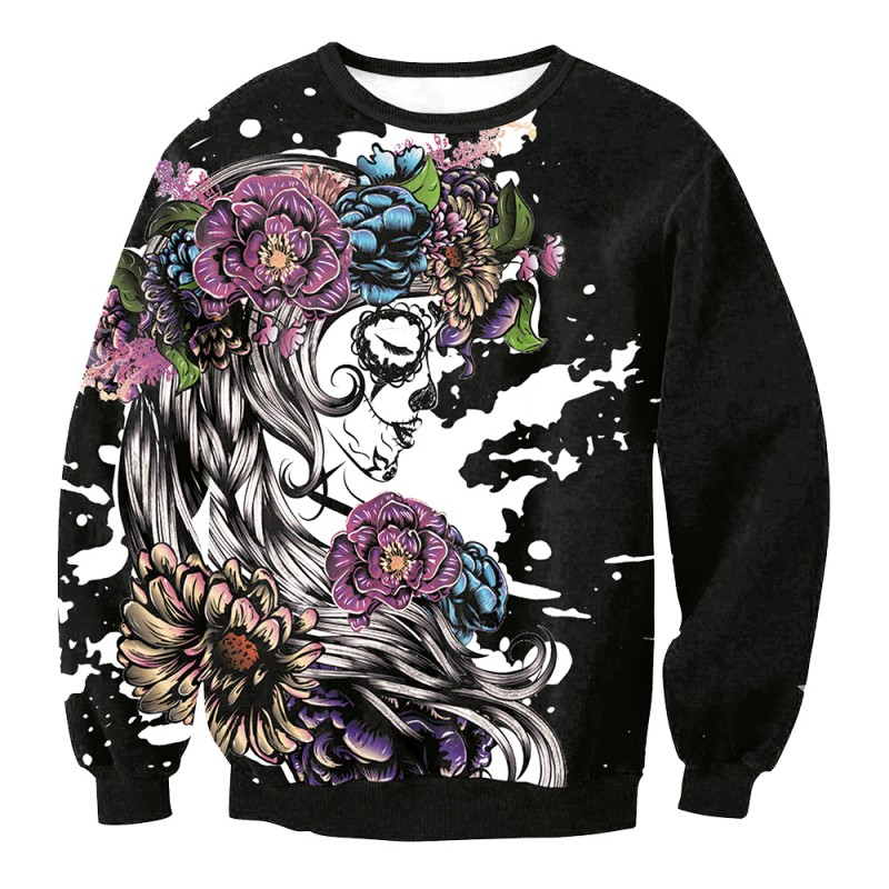90218704b76e Sugar Skull Purple and Blue Flower Girl Sweatshirt
