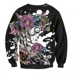 Sugar Skull Purple and Blue Flower Girl Sweatshirt