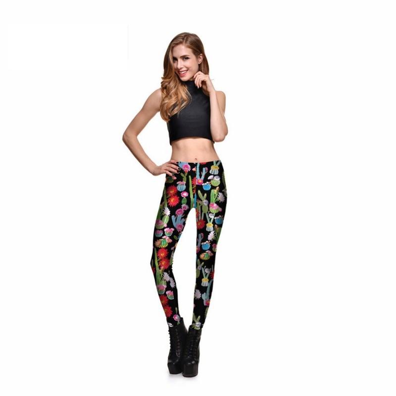 3b710b0ec9 Colorful Cactus Flowers Women's Leggings Printed Yoga Pants Workout