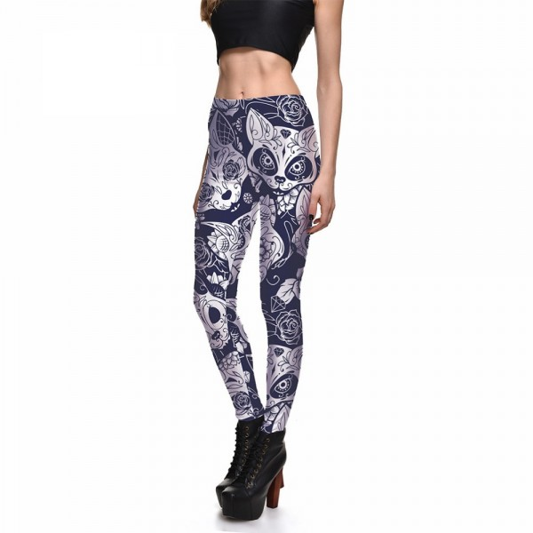 Day of the Dead Cats Women's Leggings Printed Yoga Pants Workout