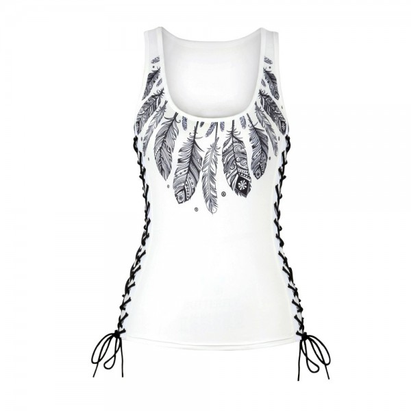 Boho Feathers Side Lace Up Tank Top