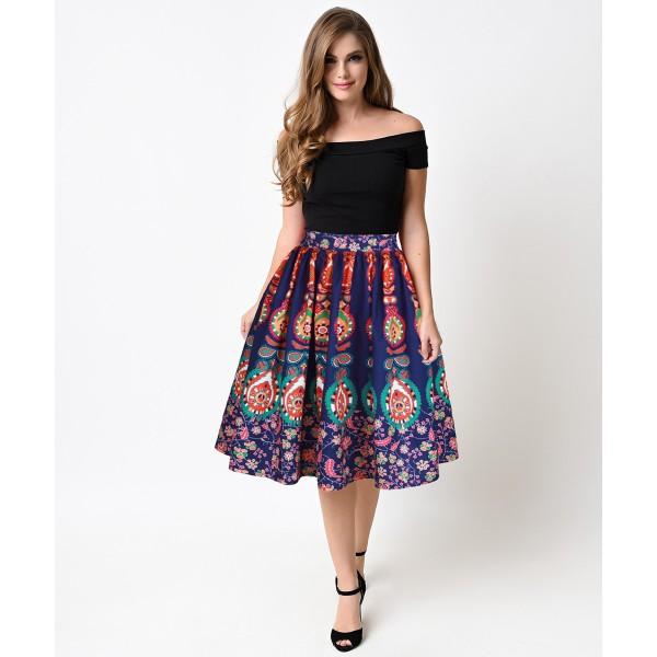 Paisley on Blue High Full Pleated Skirt - Woman's Skirt