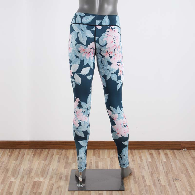 Pink Floral On Gray Women's Leggings Printed Yoga Pants