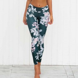 Pink Floral on Gray Women's Leggings Printed Yoga Pants Workout
