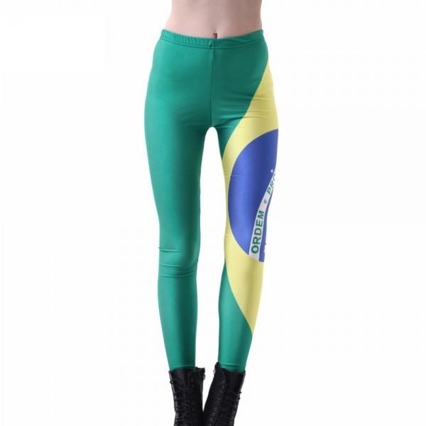 Brazilian Flag Large Women's Leggings Printed Yoga Pants Workout