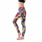 Fruit and Flowers with Black Mesh Lines Women's Leggings Printed Yoga Pants Workout