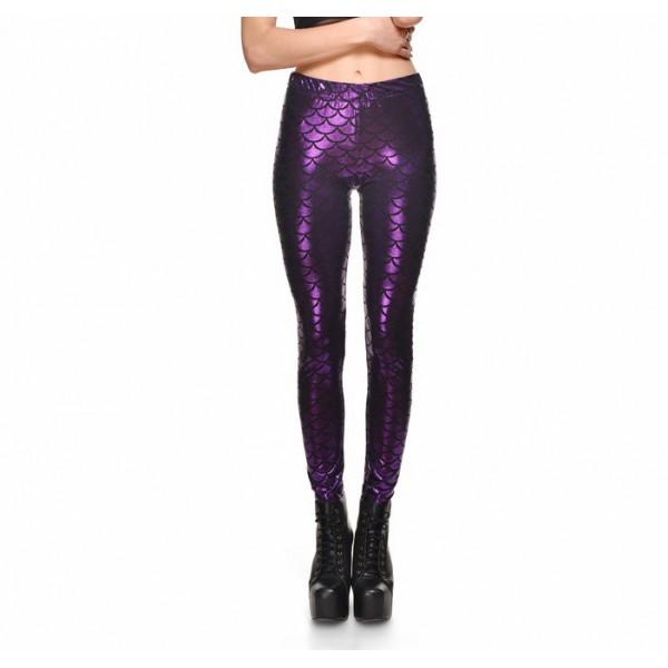 Metallic Mermaid Women's Leggings Printed Yoga Pants Workout