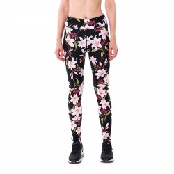 Pink Lilies with Black Mesh Lines Women's Leggings Printed Yoga Pants Workout