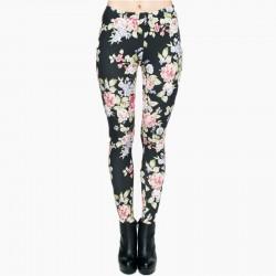 Vintage Roses on Black Women's Leggings Printed Yoga Pants Workout