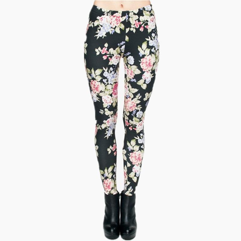 Vintage Roses on Black Women's Leggings Printed Yoga Pants ...