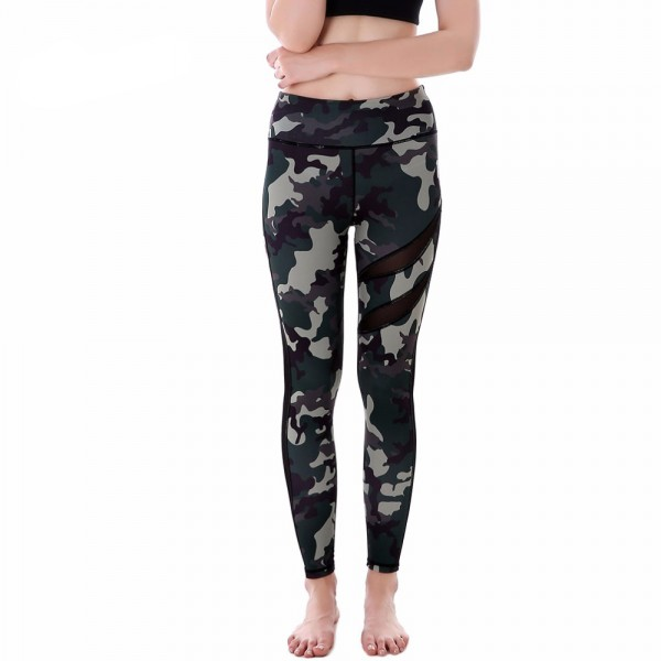 Green Camouflage with Black Mesh Lines Women's Leggings Printed Yoga Pants Workout