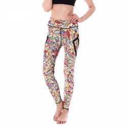Rainbow Flower Doodles with Black Mesh Lines Women's Leggings Printed Yoga Pants Workout