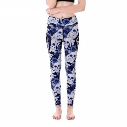 Skulls and Blue Flowers with Black Mesh Lines Women's Leggings Printed Yoga Pants Workout