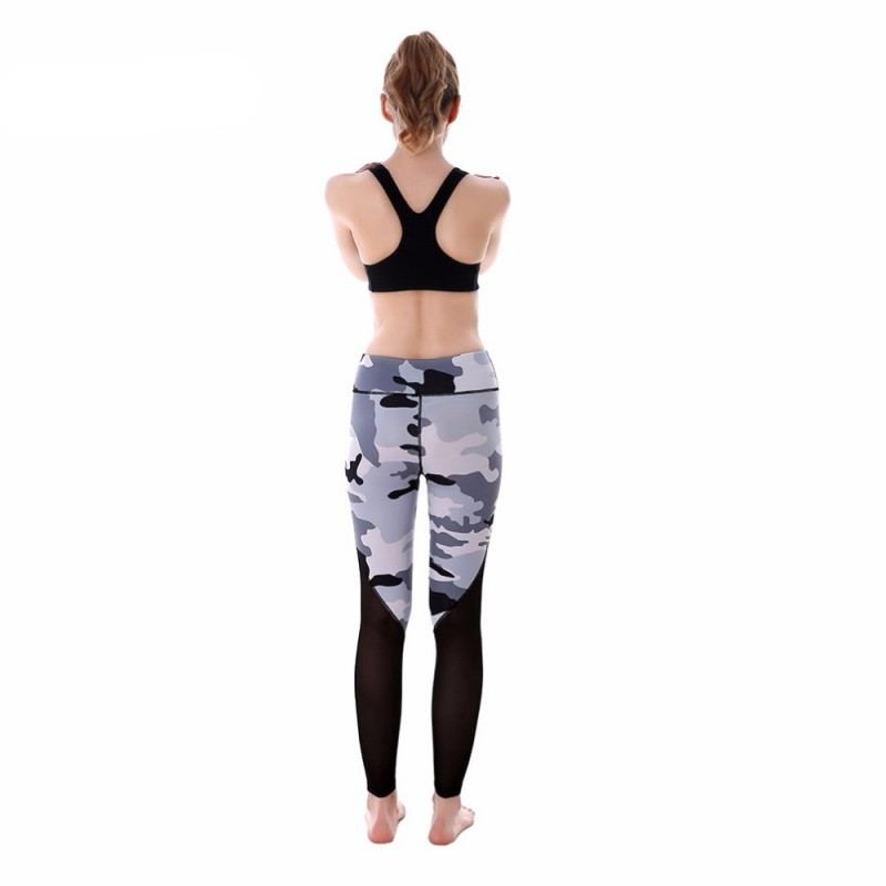 525140d17c481 Gray Camouflage with Black Mesh Patchwork Women's Leggings Printed Yoga  Pants Workout