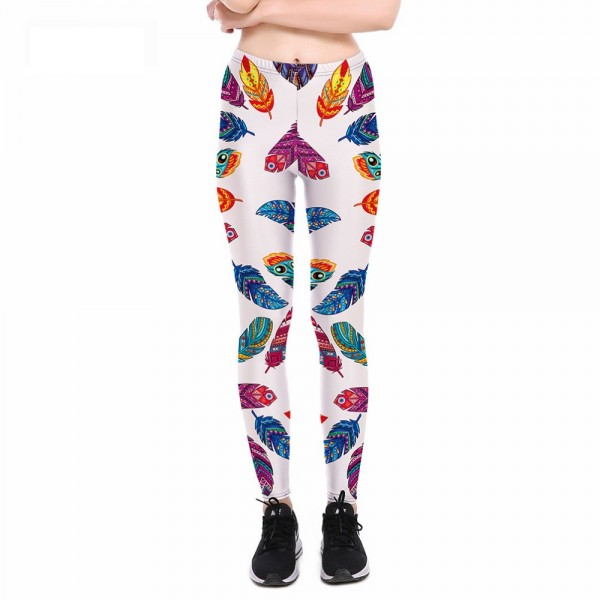 Colorful Feathers on White Women's Leggings Printed Yoga Pants Workout