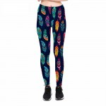 Colorful Feathers on Blue Women's Leggings Printed Yoga Pants Workout