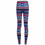 Boho Navy and Red Women's Leggings Printed Yoga Pants Workout