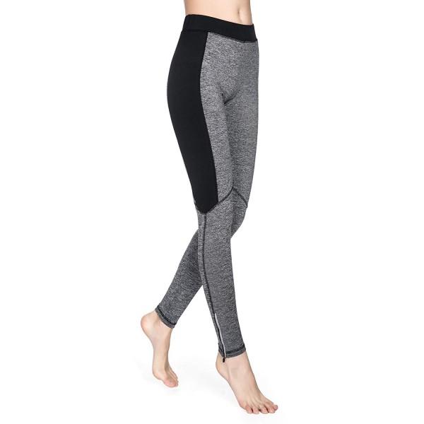 Black and Gray Mesh Panels Women's Leggings Yoga Workout