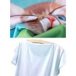 Adorable Orange Cat in Space Women's Tee - Short Sleeved T-Shirt