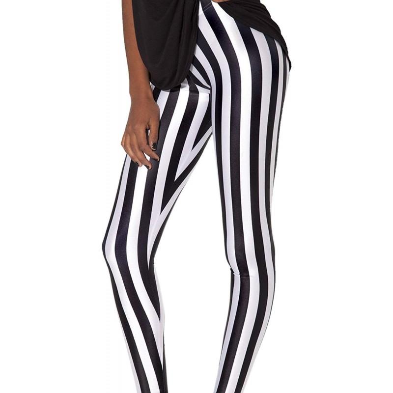18ebb883140e3 Black and White Stripes Beetlejuice Women's Leggings Yoga Workout Capri  Pants
