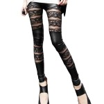 Floral Black Leather And Lace Mesh Panel Leggings Pants