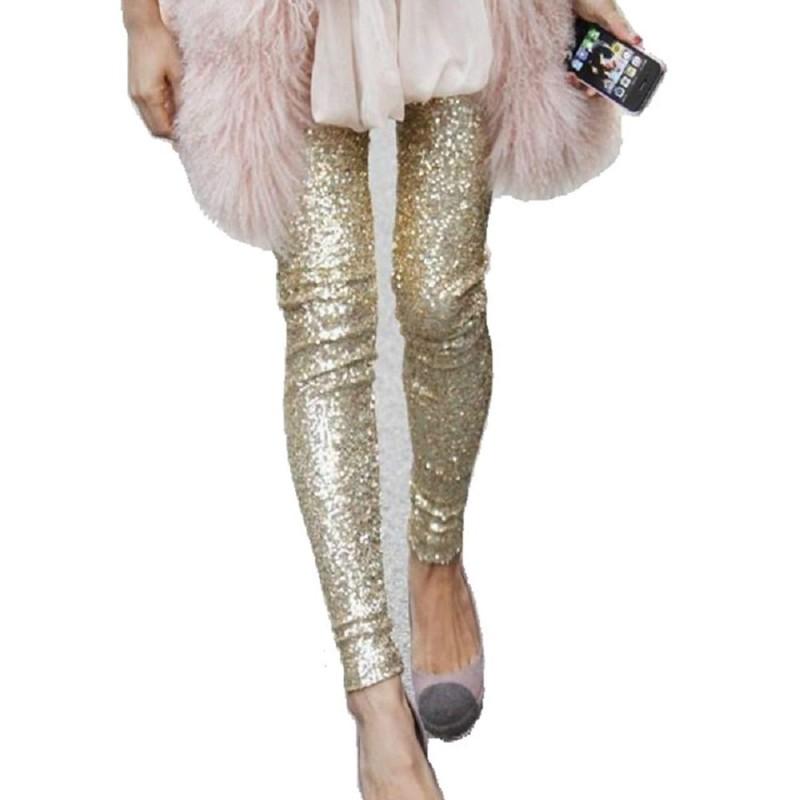815da90d5eacf Black, Gold and Silver Sequin Bling Bling Women's Leggings Yoga Workout Capri  Pants