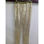 Black, Gold and Silver Sequin Bling Bling Women's Leggings Yoga Workout Capri Pants