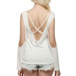 Blousy Long Sleeve Open Back Strappy - Quick Dry Workout Breathable Yoga