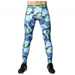Blue Camouflage Men's Leggings Compression Tights Workout Bodybuilding Fitness