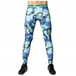 7c38f5f38e54f Blue Camouflage Men's Leggings Compression Tights Workout Bodybuilding  Fitness
