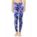 Blue Floral Women's Leggings Printed Yoga Pants Workout