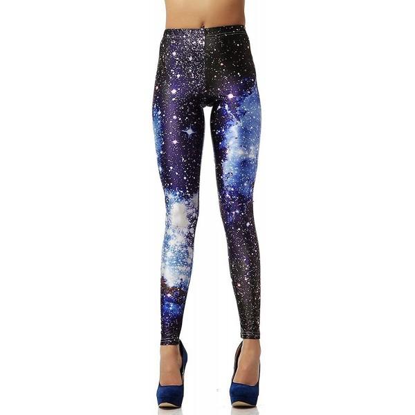 Blue Purple Galaxy Nebula Stars Space Women's Leggings Yoga Workout Capri Pants