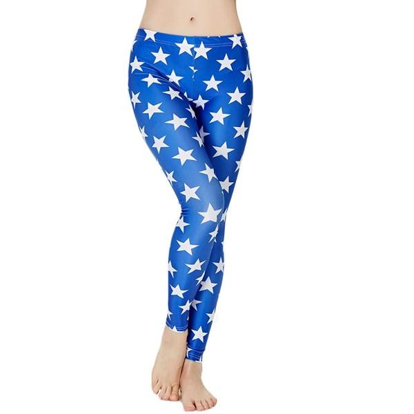 Blue Stars Women's Leggings Printed Yoga Pants Workout