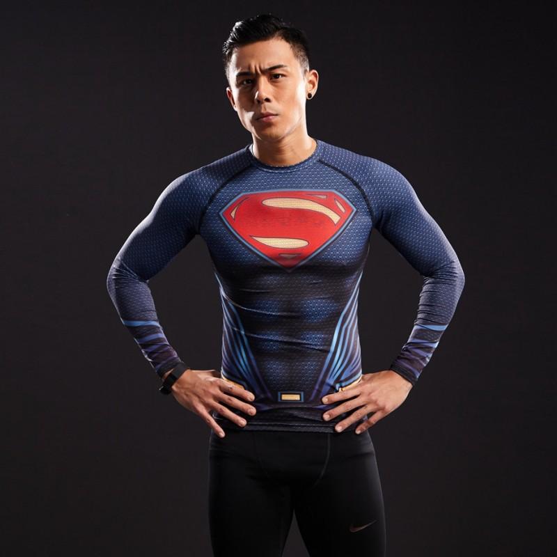 Superman raglan long sleeve men 39 s compression shirt for Compression tee shirts for men
