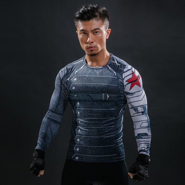 Winter Soldier Civil War Long Sleeve Men's Compression Shirt