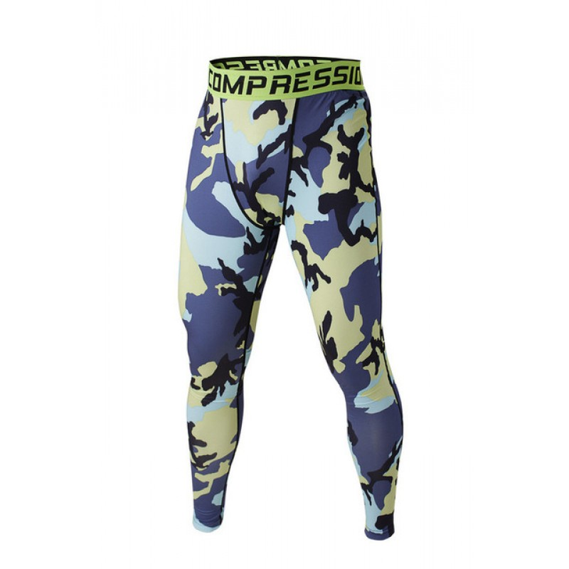 Blue Camouflage Menu0026#39;s Leggings Compression Tights Workout Bodybuilding Fitness