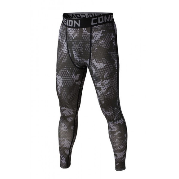 Dark Gray Geometric Camouflage Men's Leggings Compression Tights Workout Bodybuilding Fitness