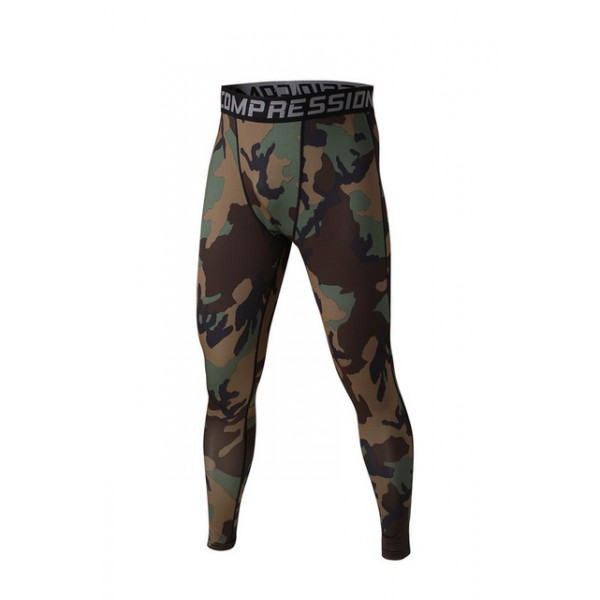 Green and Brown Camouflage Men's Leggings Compression Tights Workout Bodybuilding Fitness