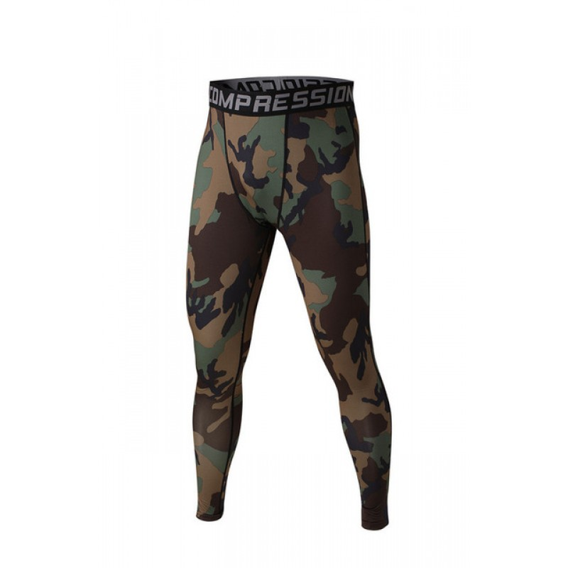daf0997952 Green and Brown Camouflage Men's Leggings Compression Tights ...