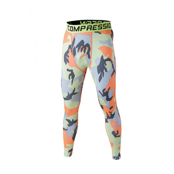 Orange Camouflage Men's Leggings Compression Tights Workout Bodybuilding Fitness