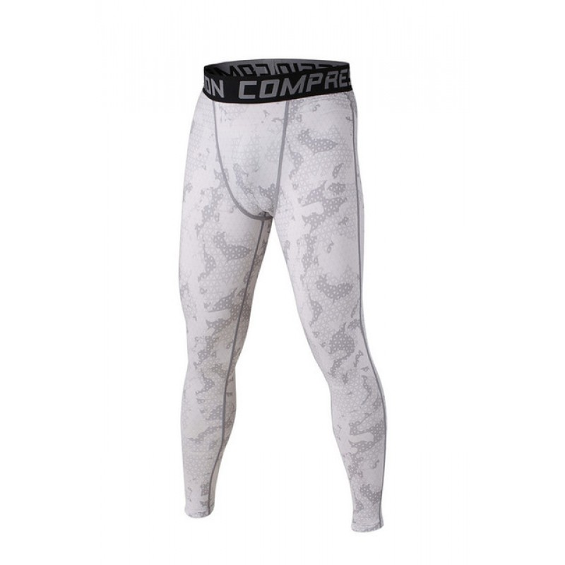 White and Gray Camouflage Men's Leggings Compression Tights ...