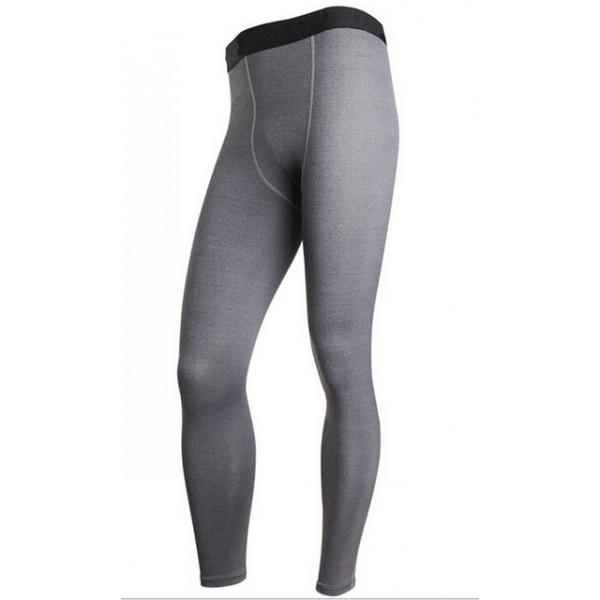 Gray with Black Waist Men's Leggings Compression Tights Workout Bodybuilding Fitness