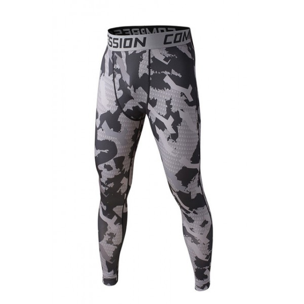 Gray Camouflage Men's Leggings Compression Tights Workout Bodybuilding Fitness