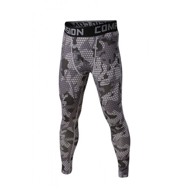 Gray Geometric Camouflage Men's Leggings Compression Tights Workout Bodybuilding Fitness