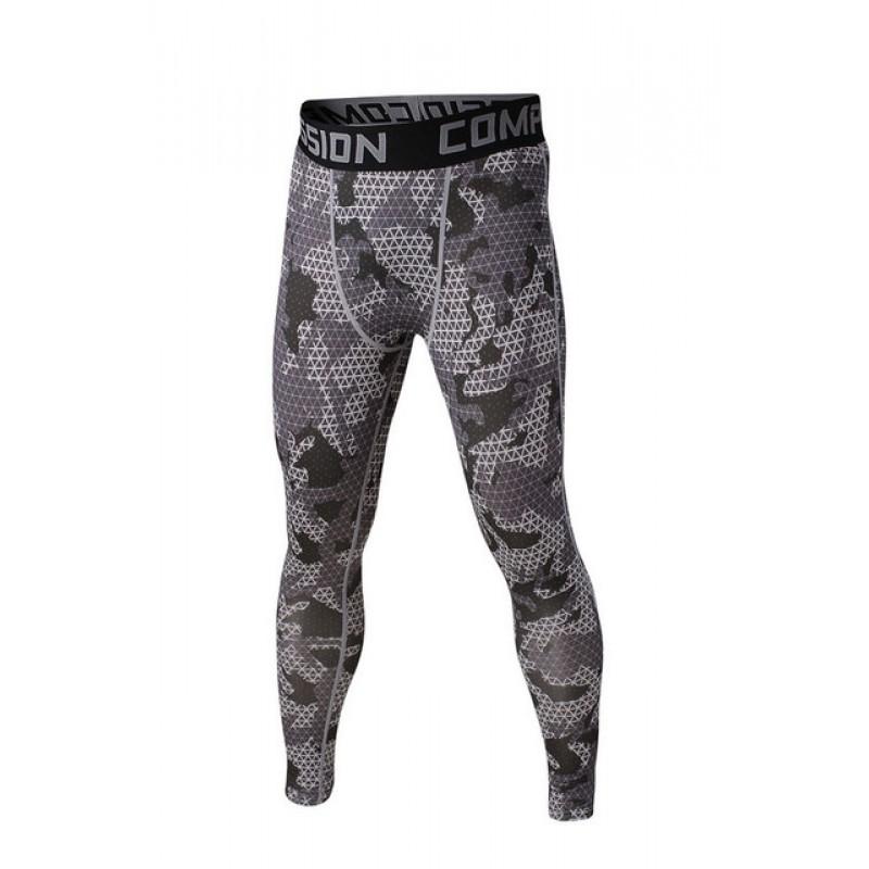 4e8a5c8108fbf Gray Geometric Camouflage Men's Leggings Compression Tights ...