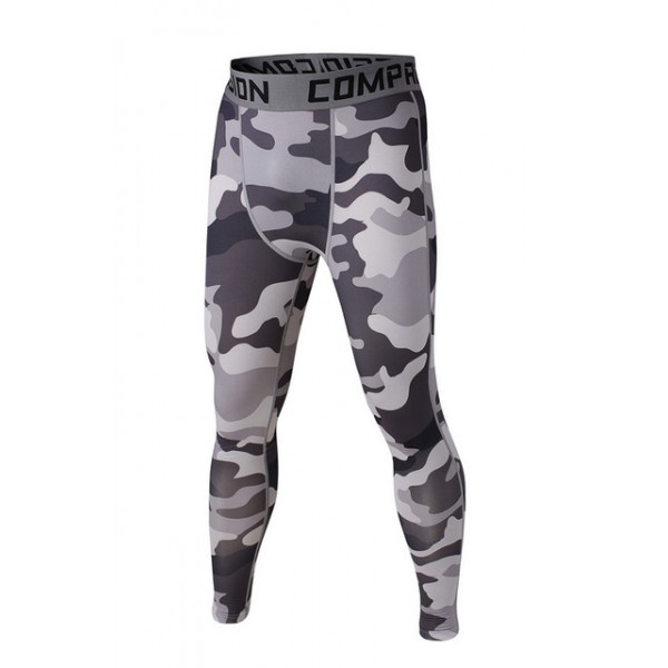 Shades of Light Gray Camouflage Men's Leggings Compression Tights Workout Bodybuilding Fitness
