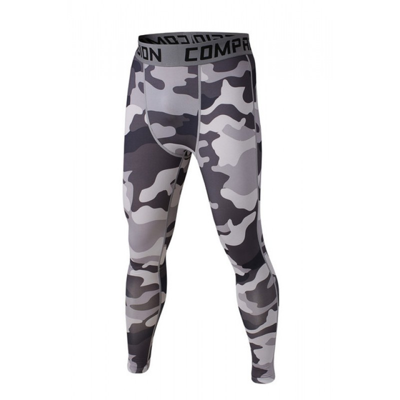 ef19518a6c61f Shades of Light Gray Camouflage Men's Leggings Compression ...
