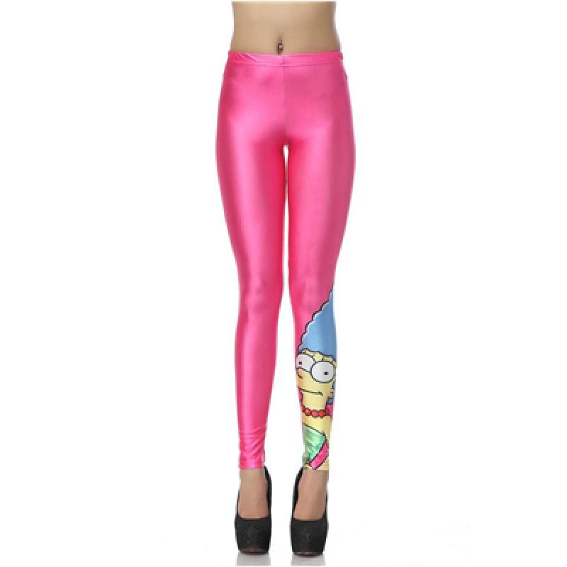 Hot Pink Marge Simpson Women's Leggings Yoga Workout Capri Pants