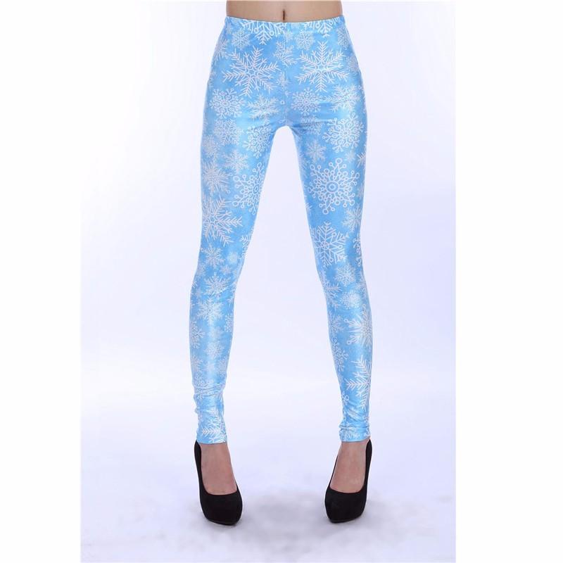 Baby Blue Snowflakes Women's Printed Leggings Yoga Workout ...